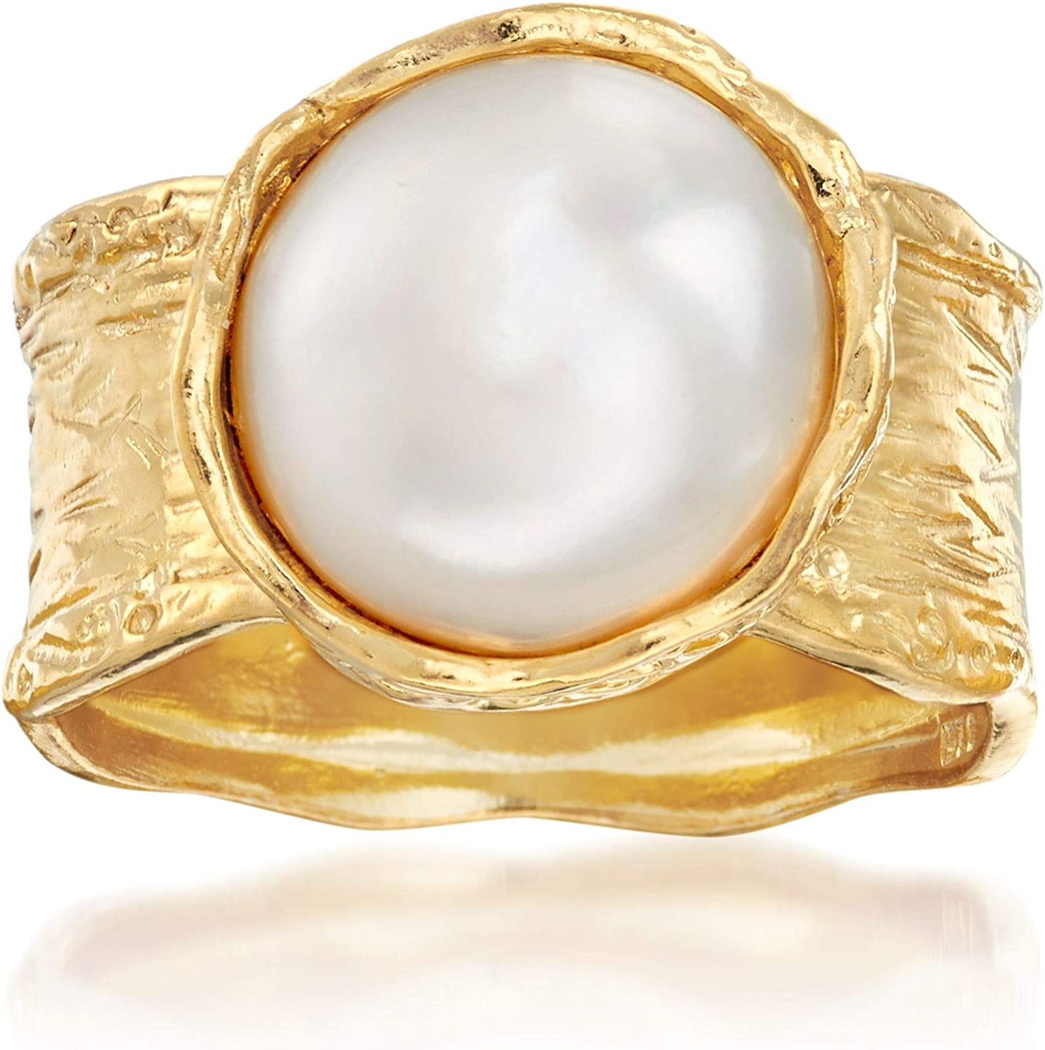 Ross-Simons 11.5-12mm Cultured Button Pearl Ring in 18kt Yellow Gold Over Sterling For Women