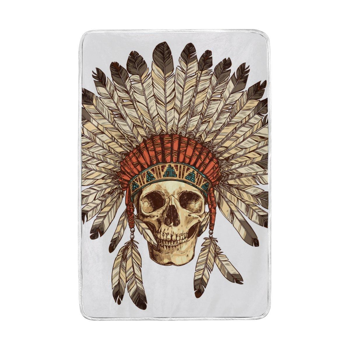 Alaza Headdress with Human Skull Blanket Luxury Throw PersonalizedスタイリッシュFuzzyソフト暖かい軽量毛布ベッド用Counch All Seasonユニセックス大人用メンズレディース男の子女の子60 x 90インチ B076J7GPB9