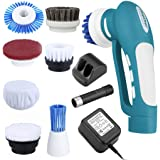 Finether Rechargeable Household Power Scrubber with 1 Battery 7 Brushes 1 Scouring Pad for Bathroom and Kitchen Portable Lightweight Cleaning Brush and Low Noise Multi Purpose Bathtub Cleaner,Blue
