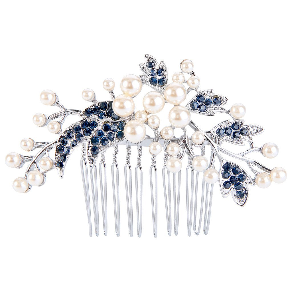 EVER FAITH Silver-Tone Austrian Crystal Cream Simulated Pearl Floral Leaf Branch Wedding Hair Comb Blue