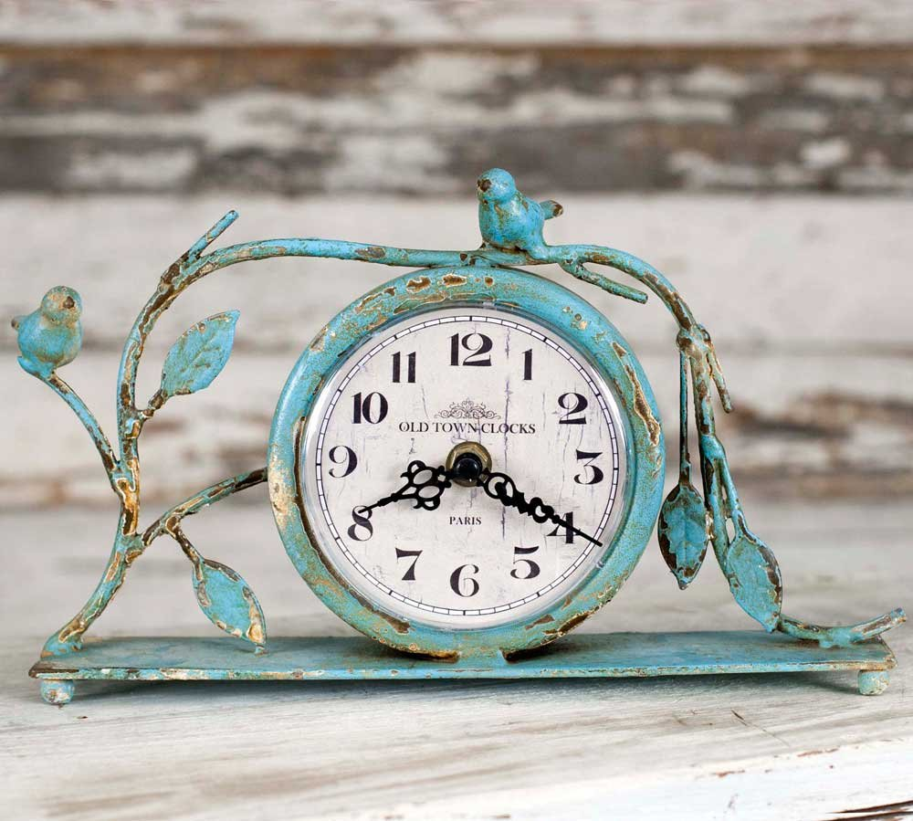 Decorative Distressed Country Style Mantel Clock by Private Label