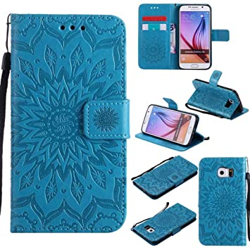 timeless design 92c43 838d8 KKEIKO Galaxy S6 Case, Galaxy S6 Flip Leather Case [with Free Tempered  Glass Screen Protector], Shockproof Bumper Cover and Premium Wallet Case  for ...