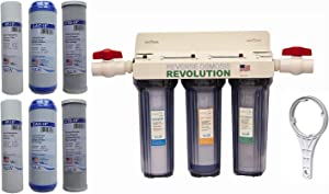 """Reverse Osmosis Revolution Whole House 3-Stage Water Filtration System, 3/4"""" Port with 2 valves and Extra 1 Year Filter Supply (2 Sets, 6 pcs)"""