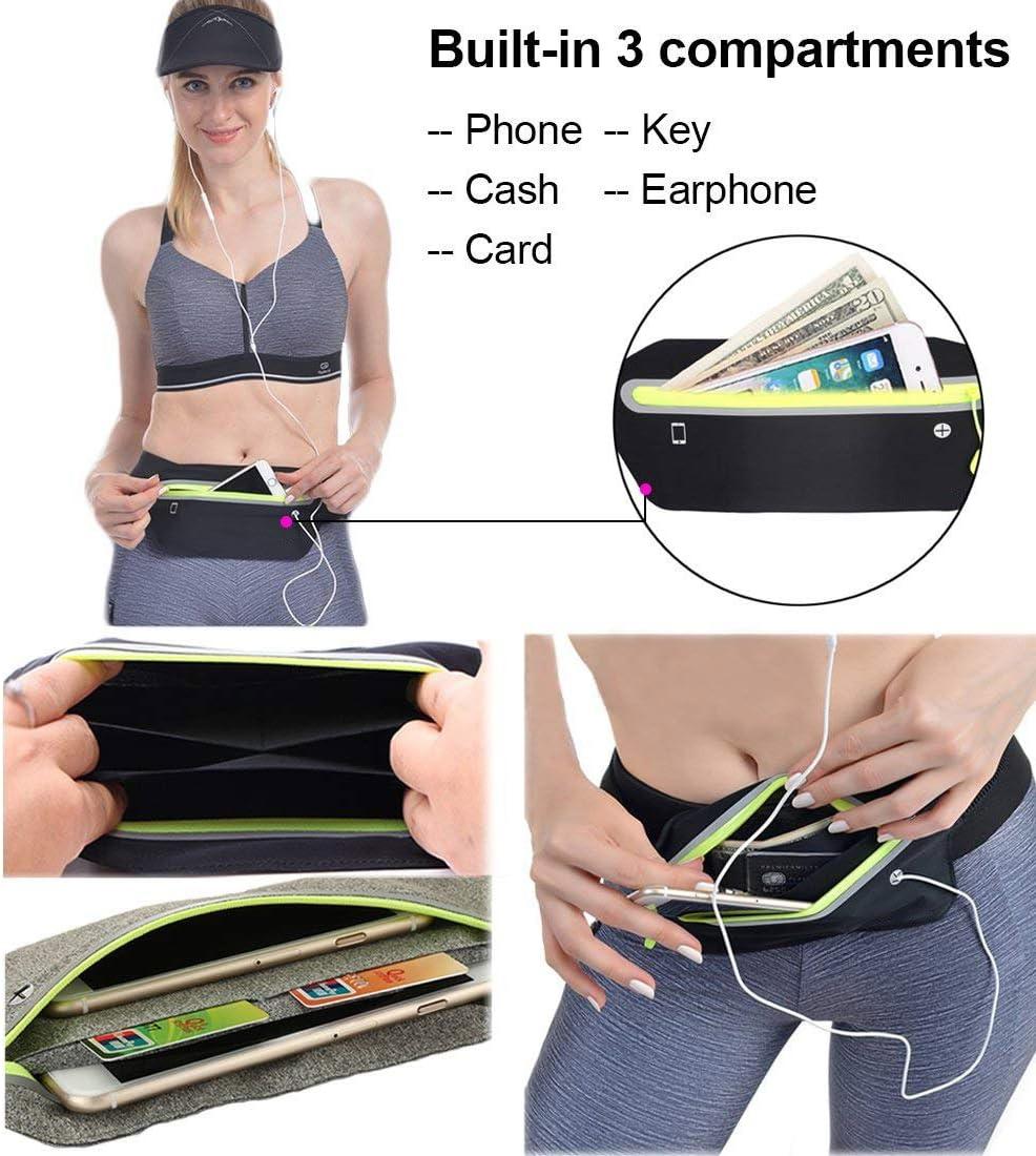 TOKYOUSTORE Slim Running Belt, Ultra Light Waist Pouch Workout Belt Waist Pack Exercise Waist Bag for Apple iPhone 8 X 7 6 5s Samsung in Running Cycling Fitness Gym Marathon