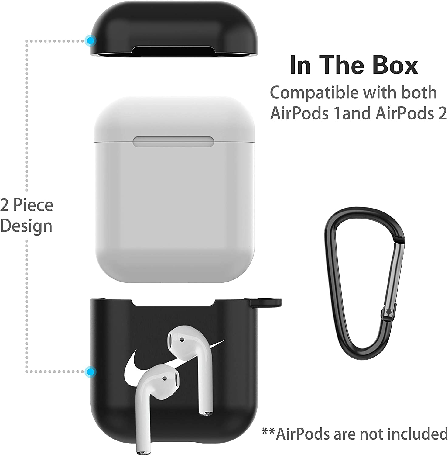 AirPods Case for Airpods 2 /& Airpods 1,Earbuds Charging Case with Keychain Protective,TPU Cover Air Pods Accessories Black