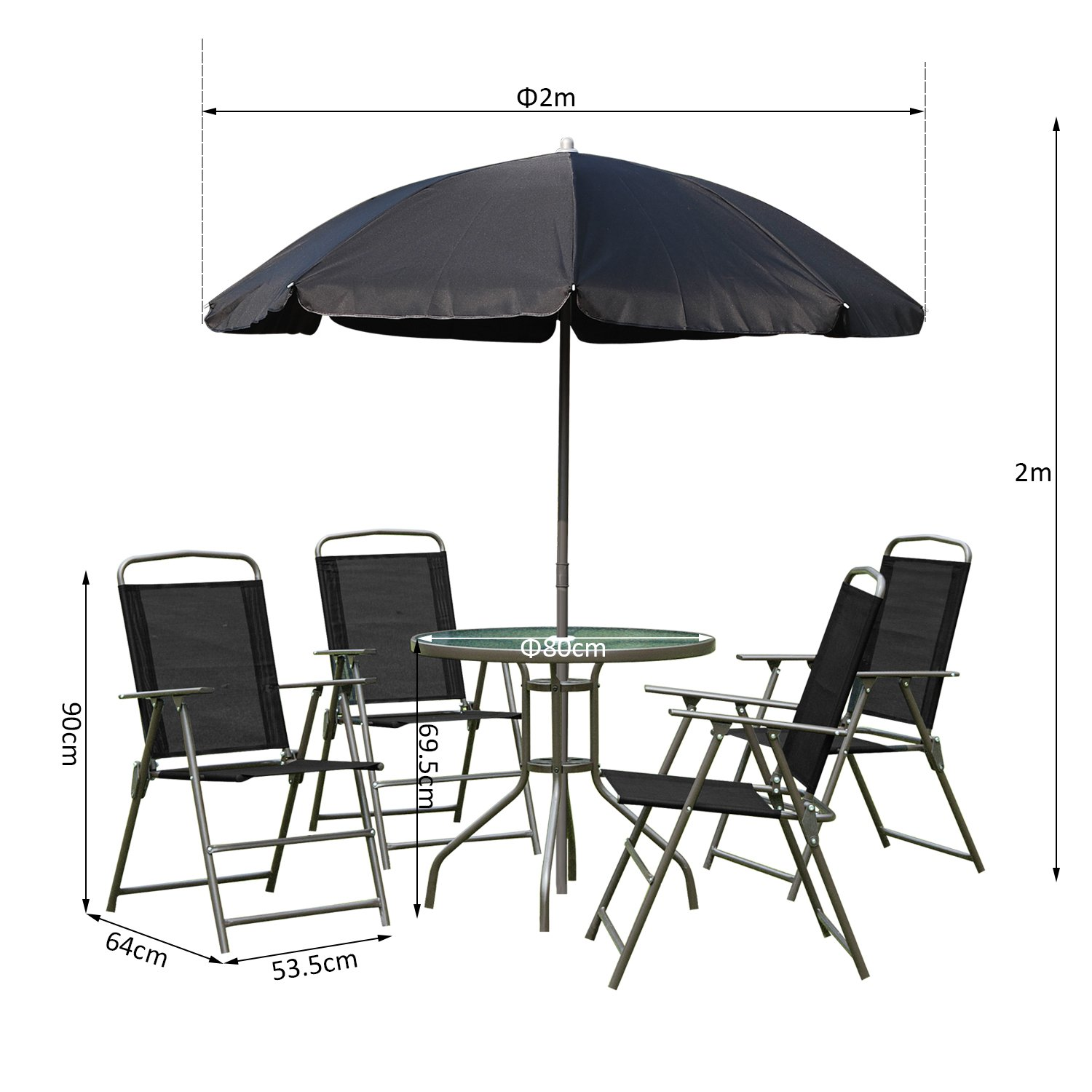 Outsunny 6 PCs Garden Patio Furniture Set Bistro Set Textilene