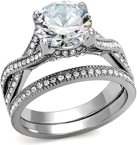 4.50 Ct AAA CZ Stainless Steel Women/'s Infinity Eternity Wedding Ring Band Set