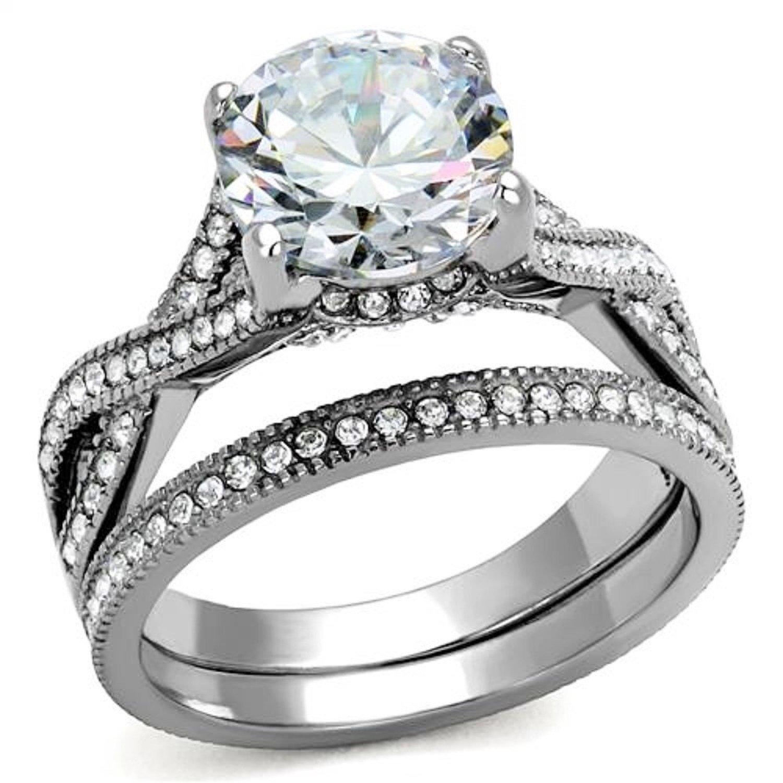 4.50 Ct Round Cut Cz Stainless Steel Women's Infinity Eternity Wedding Ring Set (8)