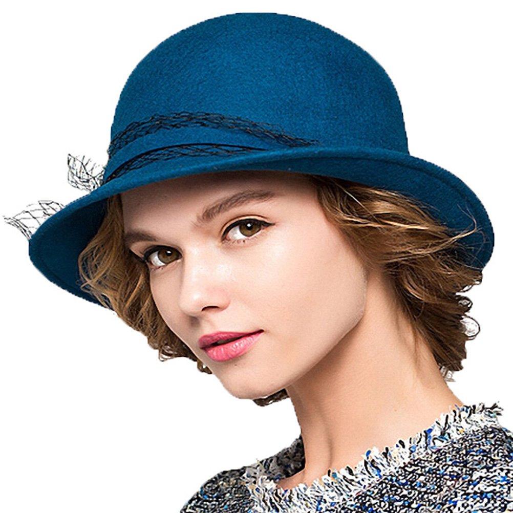 Maitose&Trade; Women's Wool Felt Bowler Hat Blue