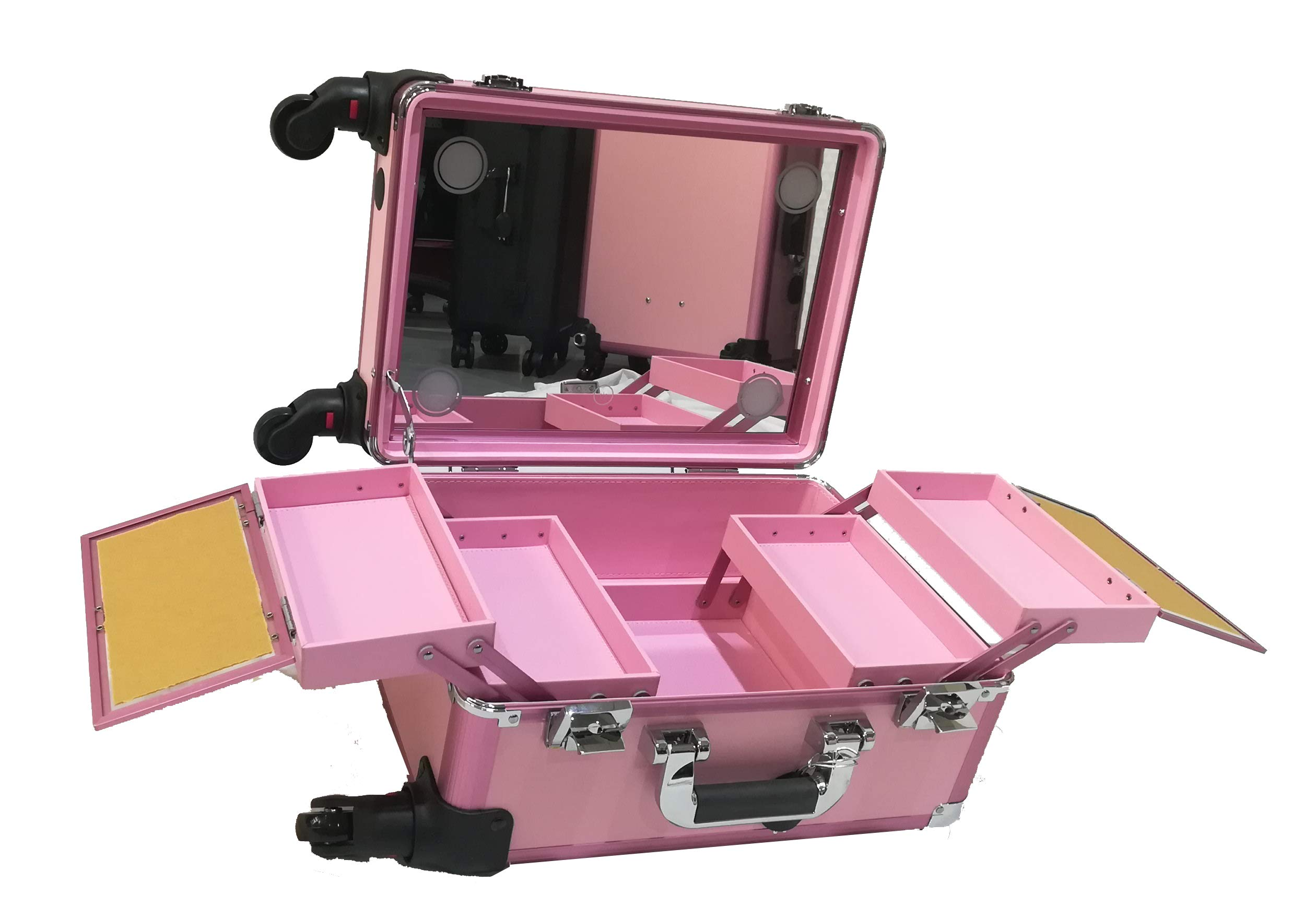 Makeup Train Suitcase with Built-in Lights & 3 Light Colors & Omni-Direction Wheels Lighted Rolling Travel Cosmetic Organizer Professional Artist Trolley Studio (Pink)
