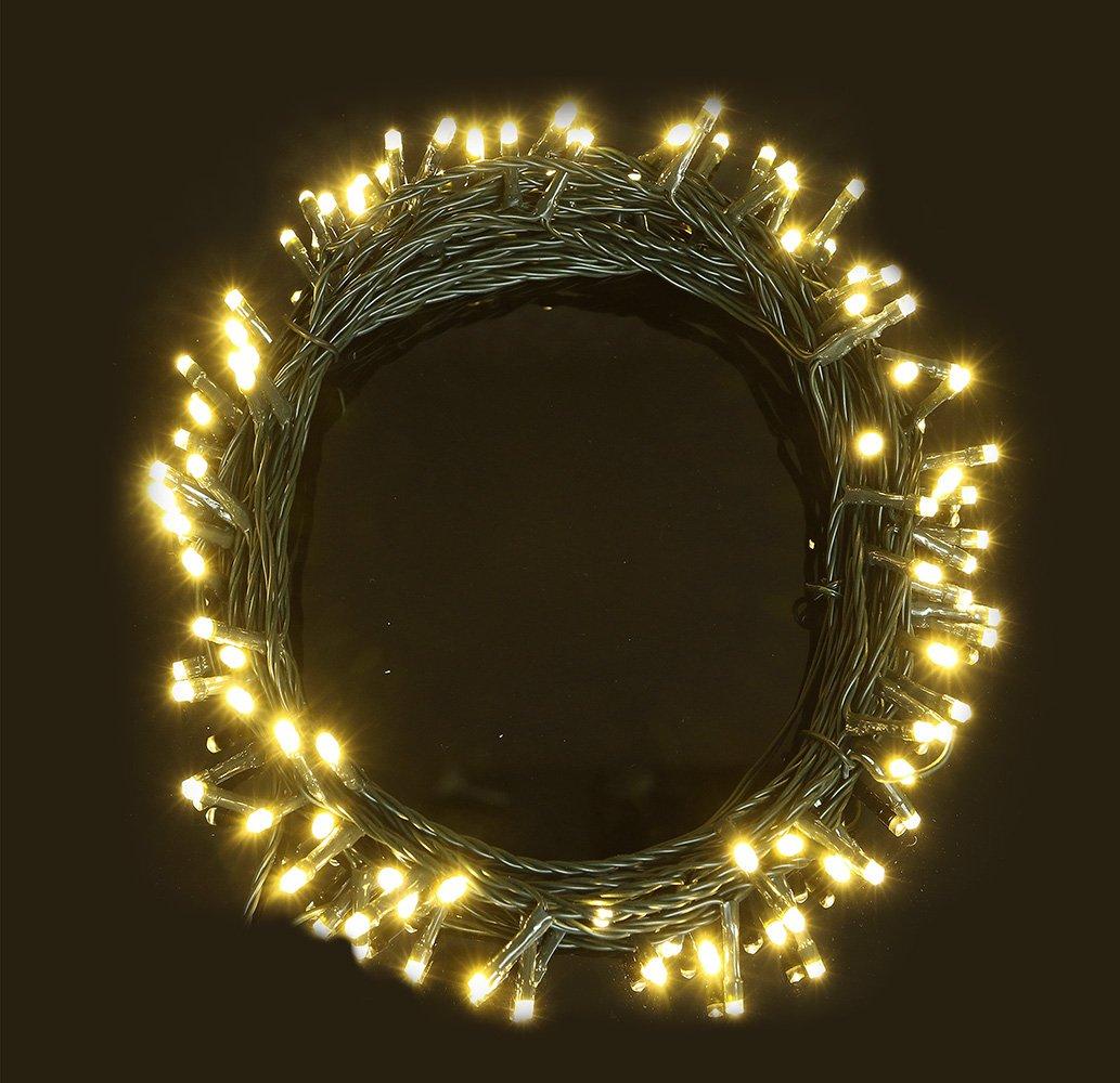 Luces de hadas 100 cálido blanco árbol de Navidad luces interiores y exteriores LED de cuerda luces 10 m/33 longitud iluminada-batería operado-8 funciones-cable verde ANSIO
