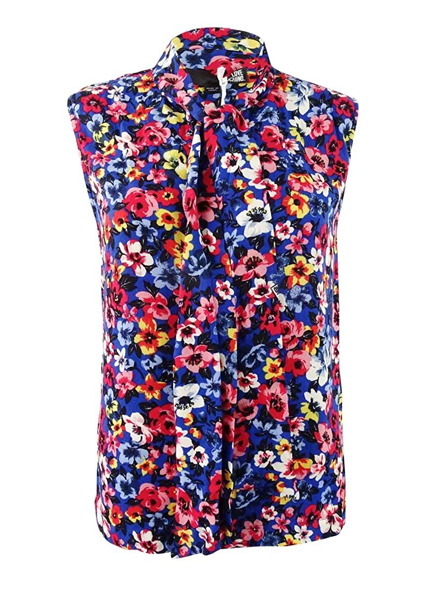 Love Moschino Womens Tie Neck Floral Keyhole Tank Top