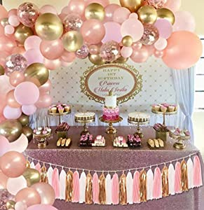 130pcs Rose Gold Balloons with Paper Tassel, Rose Gold Balloon Garland Arch Kit, Rose Gold Pink and Gold Balloons for Baby Shower Birthday Graduation Anniversary Bachelorette Party Decorations