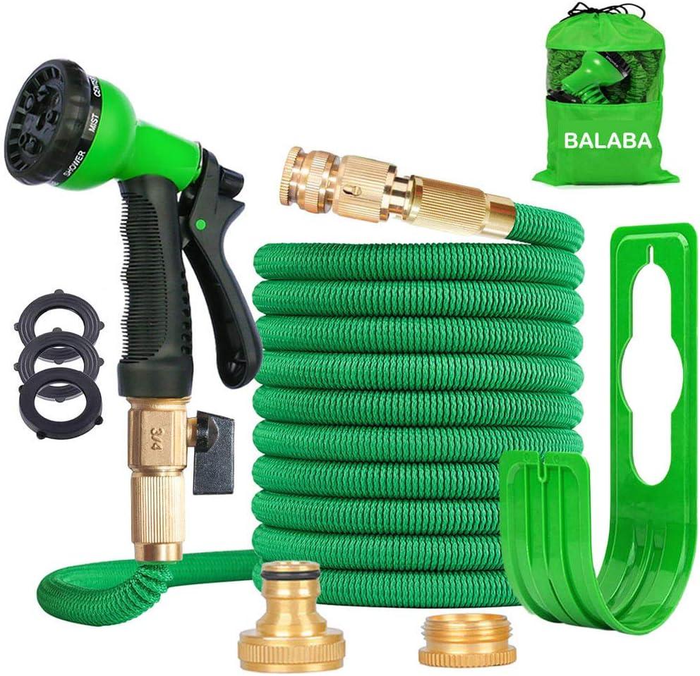 Vert BALABA Tuyau darrosage extensible 3 fois extensible Magic l/éger avec pistolet /à pulv/érisation 8 fonctions et raccords en laiton massif l/éger et facile /à ranger anti-fuite