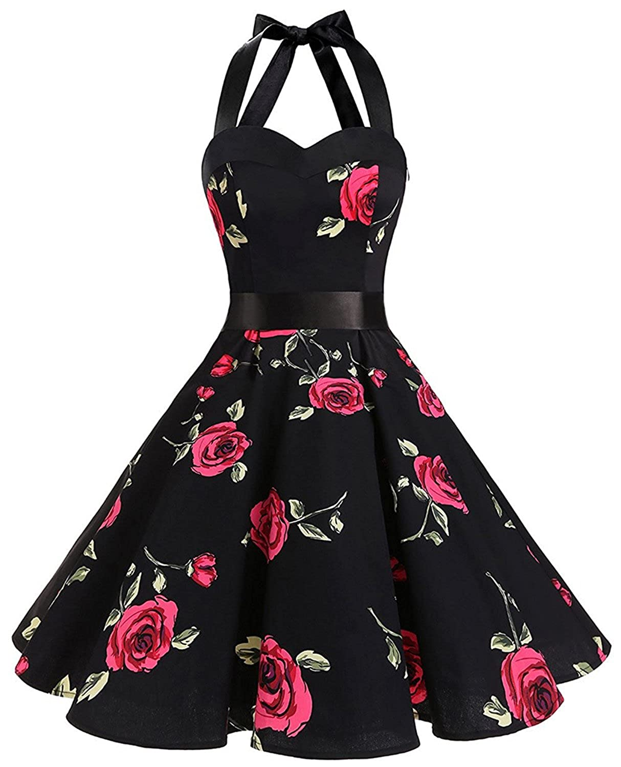 71b43278cc34 Features: Halter Neck; Floral Print; Knee Length; Concealed Zipper At Side;  Full Flared Skirt, Elegant Audrey Hepburn Dresses. This Party Swing Dress  With ...
