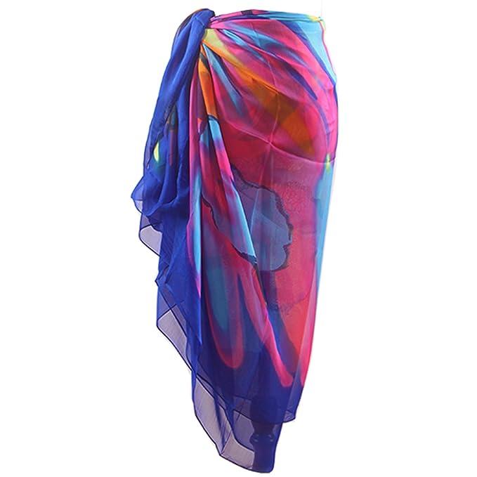 2232526376 MissShorthair Womens Chiffon Plus Size Beach Sarong Wrap Pareo Swimwear