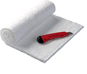 "CM-Ceramics 1/2"" x 12"" x 24"" 2400 F. 8 Pound Morgan Ceramic Fiber Insulation Blanket with Knife Included. Made in The USA"