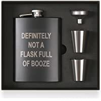 Funny Hip Flask Gift Set, Funny Flask for Liquor, Drinking Flask, DEFINITELY NOT A FLASK FULL OF BOOZE, 8 ounce, 304…