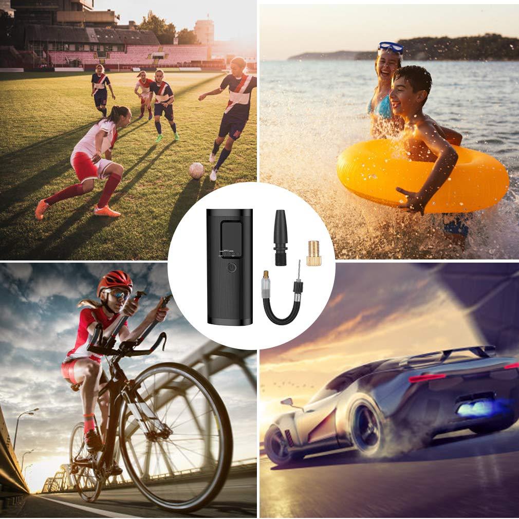 morpilot Mini Compresor Aire Coche Portatil, Bomba Bicicleta Eléctrico con Pantalla LCD, USB Recargable, 4 Modos Preestablecidos & 1 Personalizado para Neumáticos de Coche Moto Bici Otros Inflables