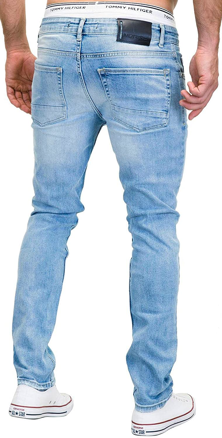 Merish Jeans Uomo 5-Pocket Stile Distrutto-Wash Contrasto Decorative Modello Gamba a Tubo Elaborazione Altamente Dettagliato J9148