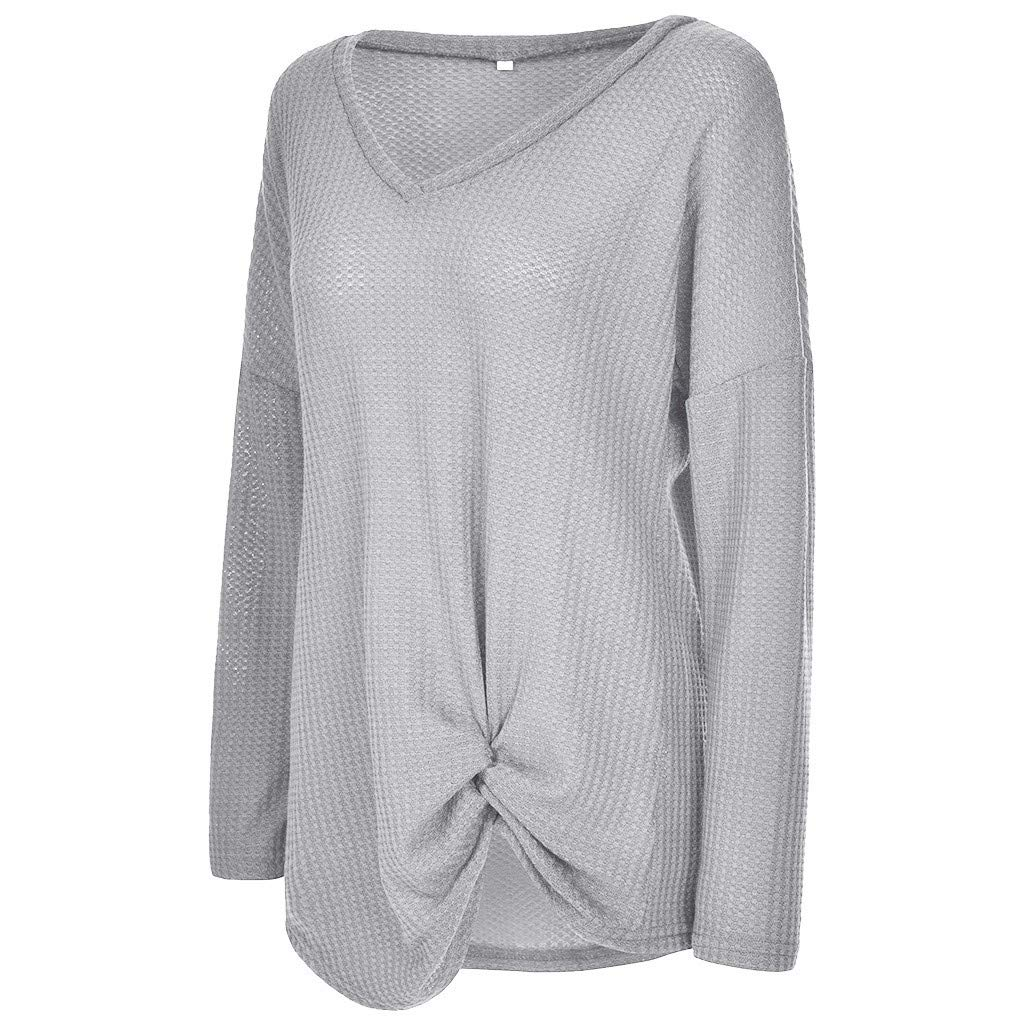 Tops for Women FAPIZI Womens Waffle Knit Tunic Tops Long Sleeve V Neck Twist Knotted Tops Loose Fitting Plain Shirts