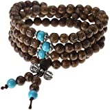 JOVIVI Tibetan Buddhist Buddha Meditation 8mm*108 Prayer Bead Mala Bracelet/Necklace