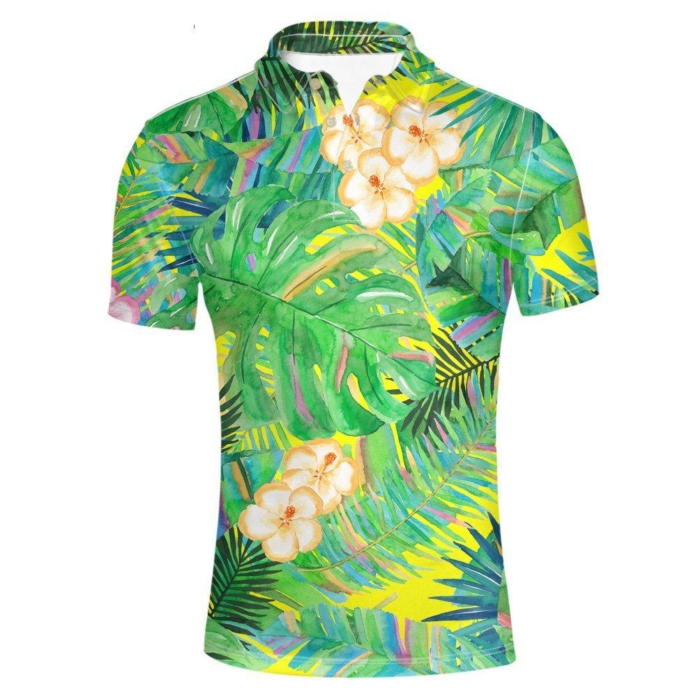 HUGS IDEA Modern Classic Mens Golf Polos Shirt Hawaiian Hibiscus Monstera Summer T-Shirts Sport Short Sleeve Tops