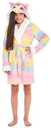 4f56d32f3a Image Unavailable. Image not available for. Colour  Girls Fleece Unicorn  Rainbow Multicoloured Dressing Gown Luxury Flannel Hooded Novelty Animal  Face Size ...