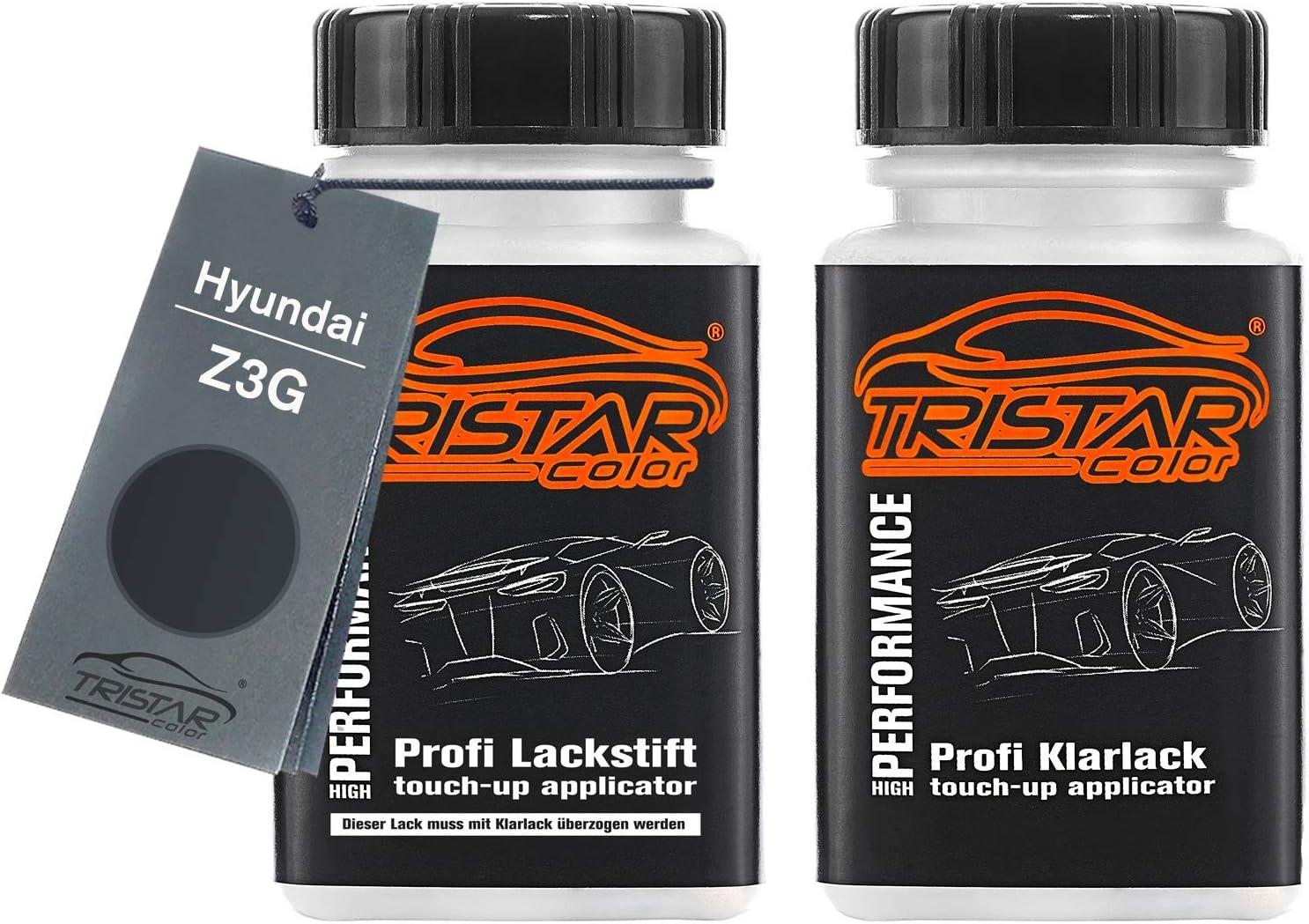 Tristarcolor Autolack Lackstift Set Für Hyundai Z3g Micron Grey Metallic Basislack Klarlack Je 50ml Auto