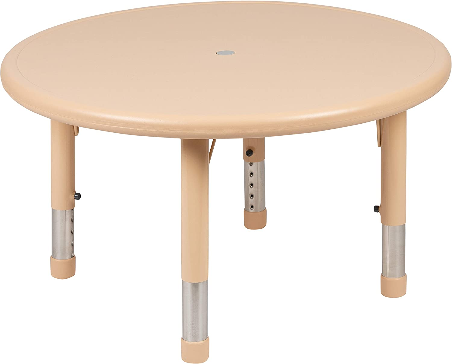 """Flash Furniture 33"""" Round Natural Plastic Height Adjustable Activity Table"""