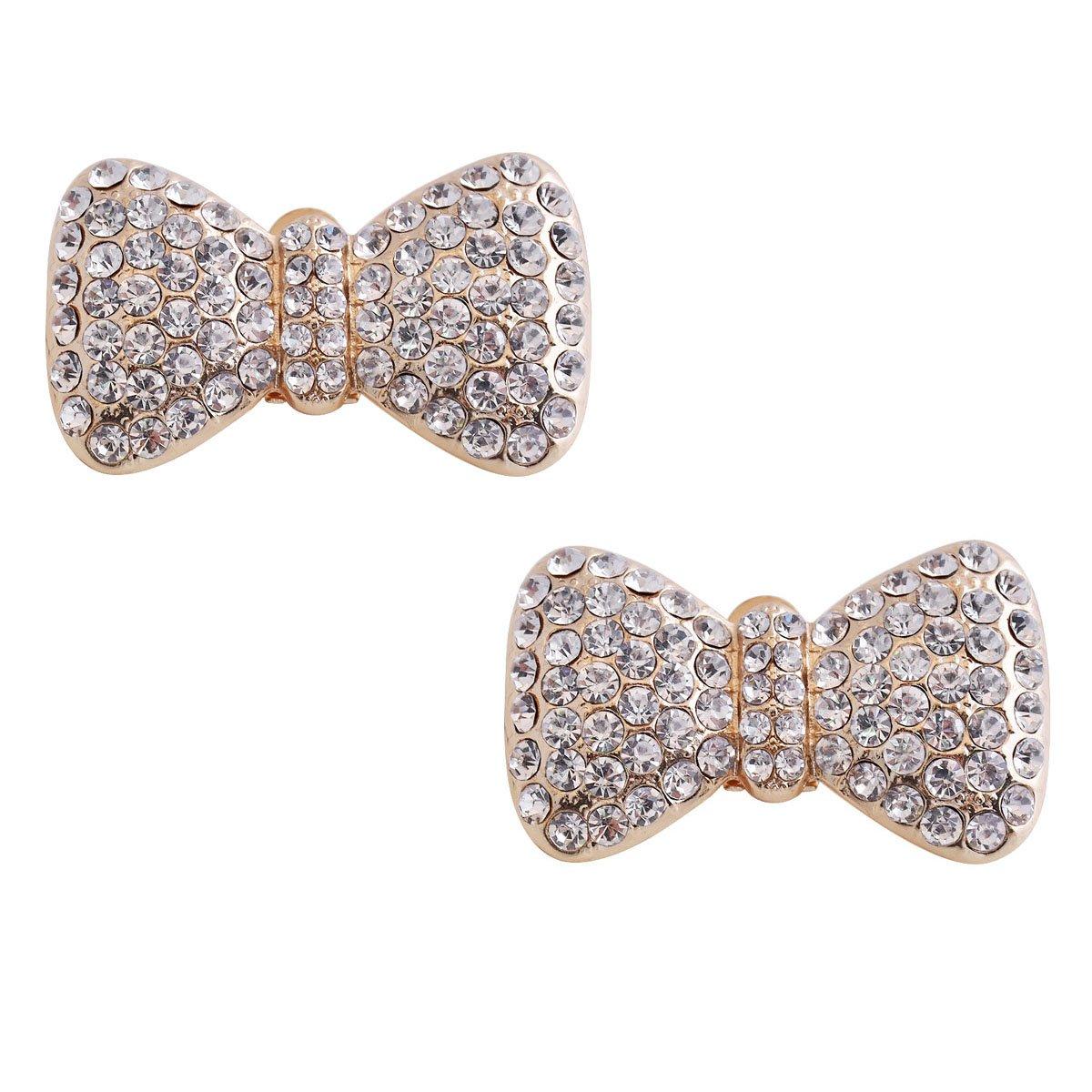 ElegantPark CF 2 Pcs Shoe Clips Crystal Bows Design Wedding Party Decoration Gold