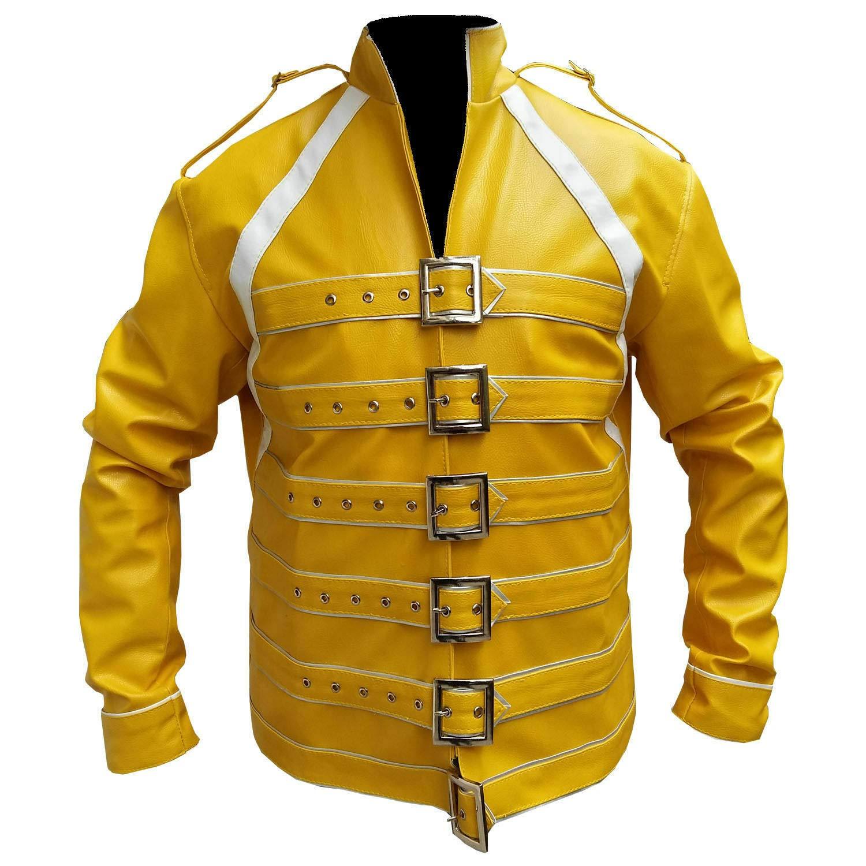 Freddie Mercury concierto correa amarillo chaqueta de piel ...
