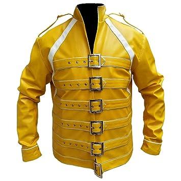 LEATHER FASHIONS Freddie Mercury Concierto Correa Amarillo Chaqueta de Piel