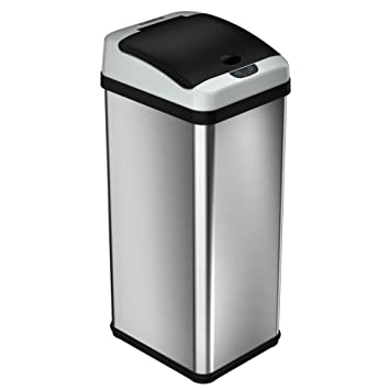 itouchless luxury edition automatic sensor kitchen trash can rectangular 49 liter stainless steel trash can. Interior Design Ideas. Home Design Ideas