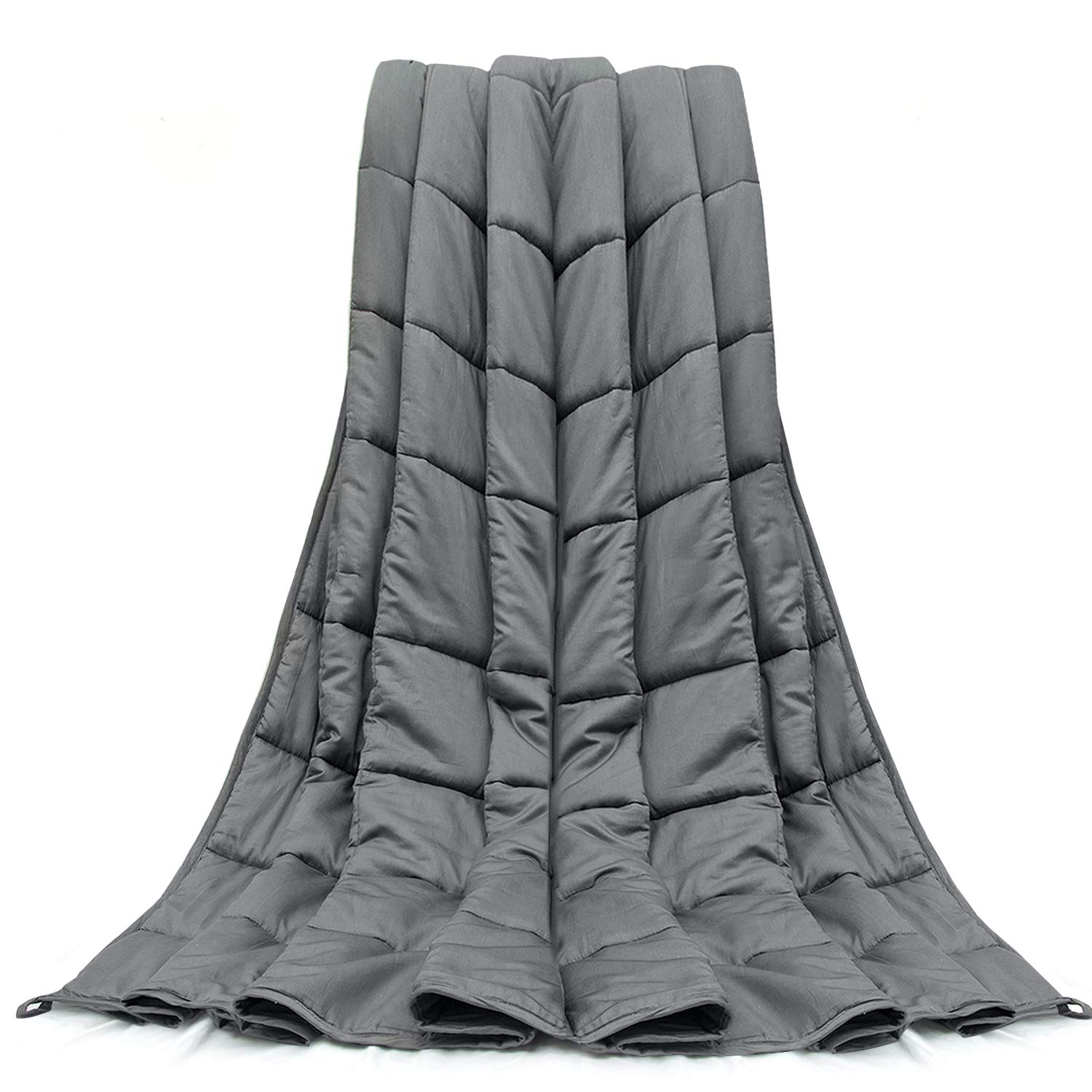 Weighted Blanket 12 LBS 60X80 Queen King Size Soft Comfortable Breathable 100% Cotton Washable Weighted Blanket Glass Beads for (100-140 LB Person) Kids Adult Man Woman Grey by joybest