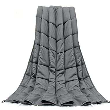 Dreamcountry Weighted Blanket 20 LBS 60X80 Queen King Size Soft Comfortable Breathable 100% Cotton Washable Weighted Blanket Glass Beads for (160-220 LB Person) Adult Man Woman Grey