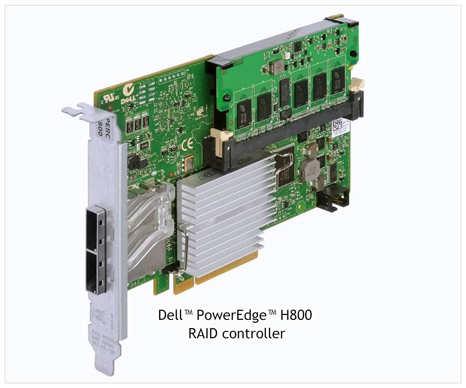 PERC H800 RAID Controller Card for Dell PowerEdge and PowerVault storages with 2 External ports supports SAS 2.0 6Gb/s and x8 PCIe 2.0 slot P/N 342-1193