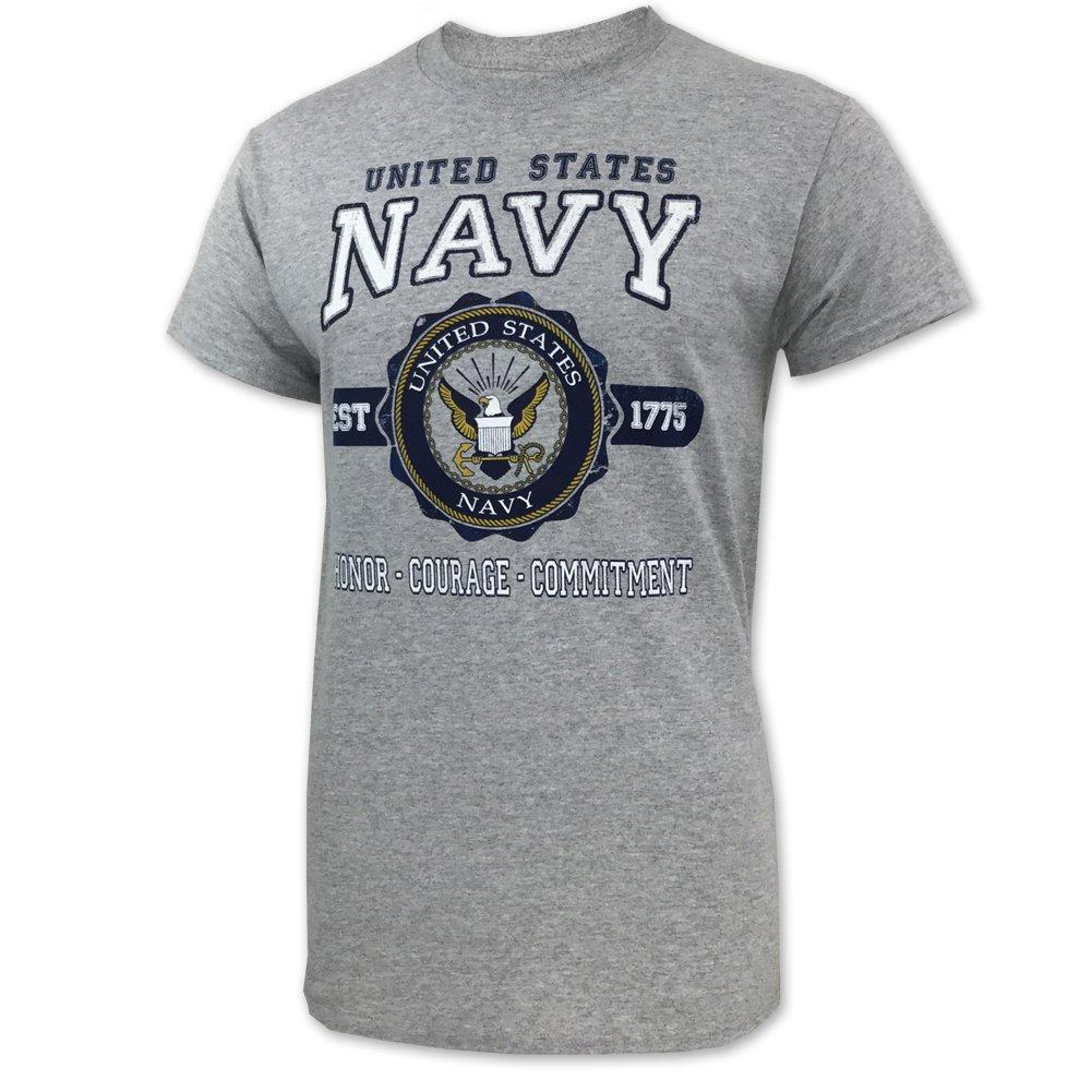 Navy Vintage Seal T-Shirt, x-large, grey