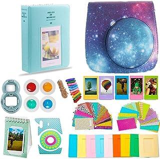 DNO Fujifilm Instax Mini 9 Accessories (11 Piece Kit) - Protective Case, Hanging Frames, Filters & Selfie Lens, Photo Album, Film Decor Stickers & More - Flamingo Pink (Starry Sky)