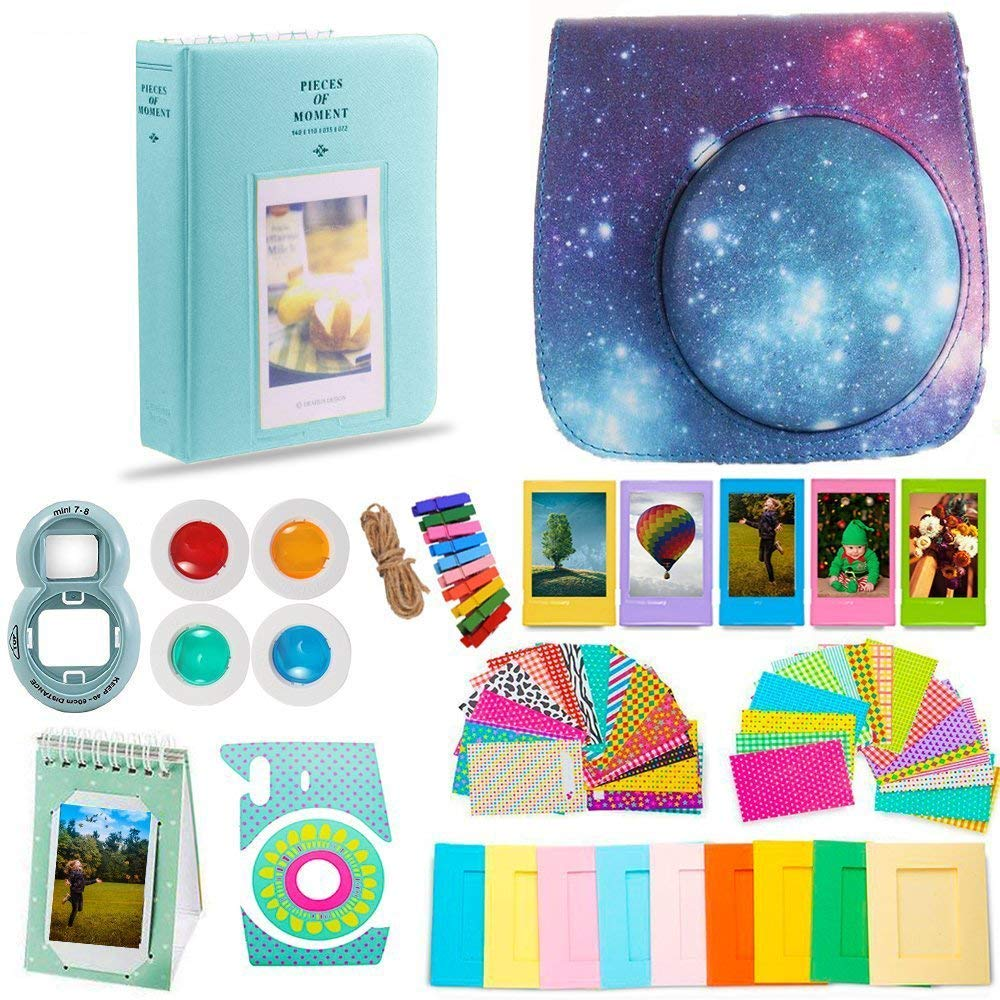 DNO Fujifilm Instax Mini 9 Accessories (11 Piece Kit) - Protective Case, Hanging Frames, Filters & Selfie Lens, Photo Album, Film Decor Stickers & More - Flamingo Pink (Starry Sky) by DEALS NUMBER ONE