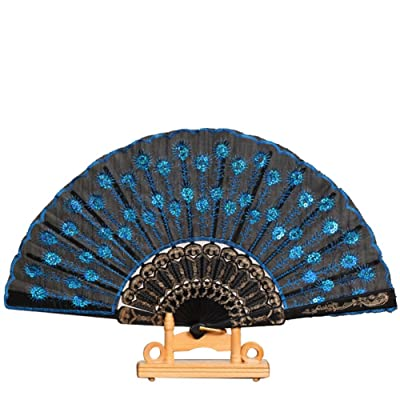 Luxsea Plastic Sequins Flower Pattern Hand Holding Folding Fan Embroidered: Home & Kitchen