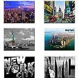UNIVERSAL SOUVENIR 6 Set New York NYC Souvenir Photo Picture Fridge Magnets 2 x 3 inch - Pack of 6