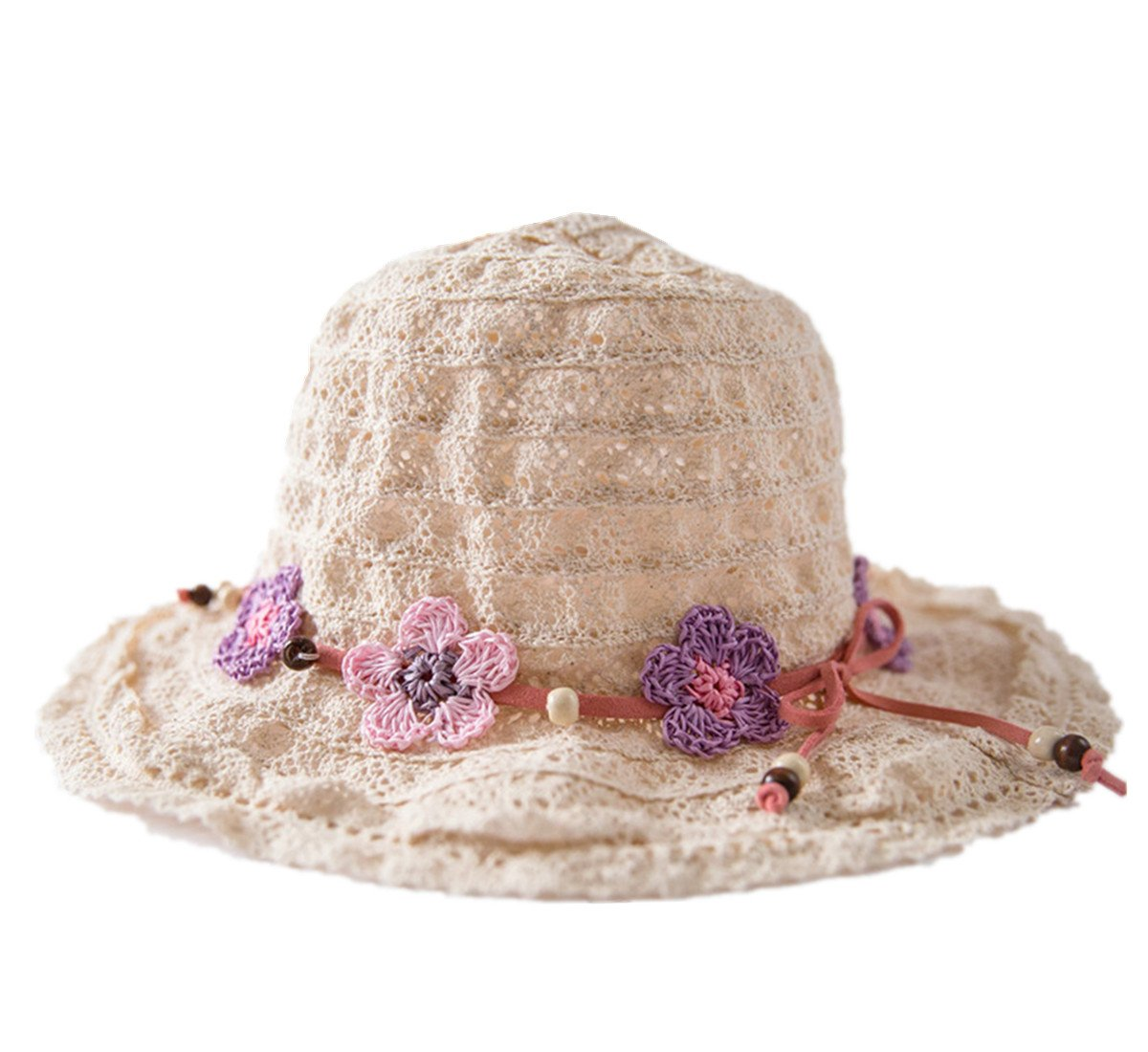 Connectyle Kids Summer Crochet Cotton Hat with Flowers Foldable Beach Sun Protection Hats for Girls
