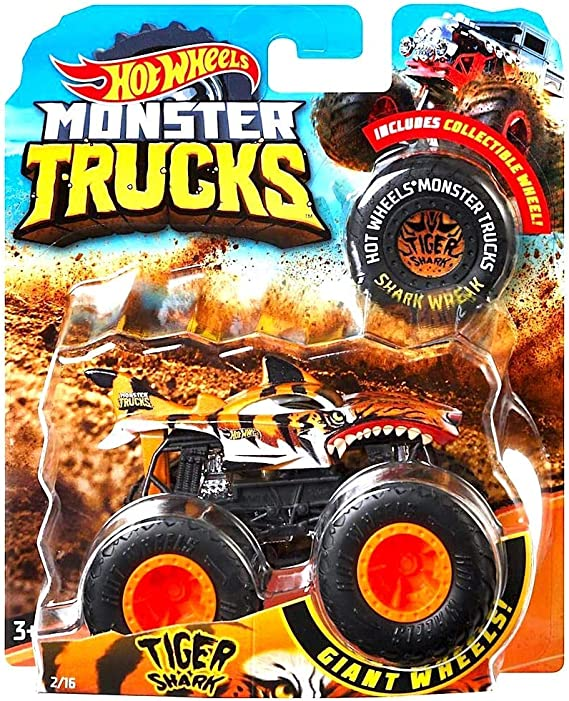 Amazon Com Hot Wheels 2018 Release Monster Jam Tiger Shark Monster Truck Die Cast With Collectible Wheel Token Kitchen Dining
