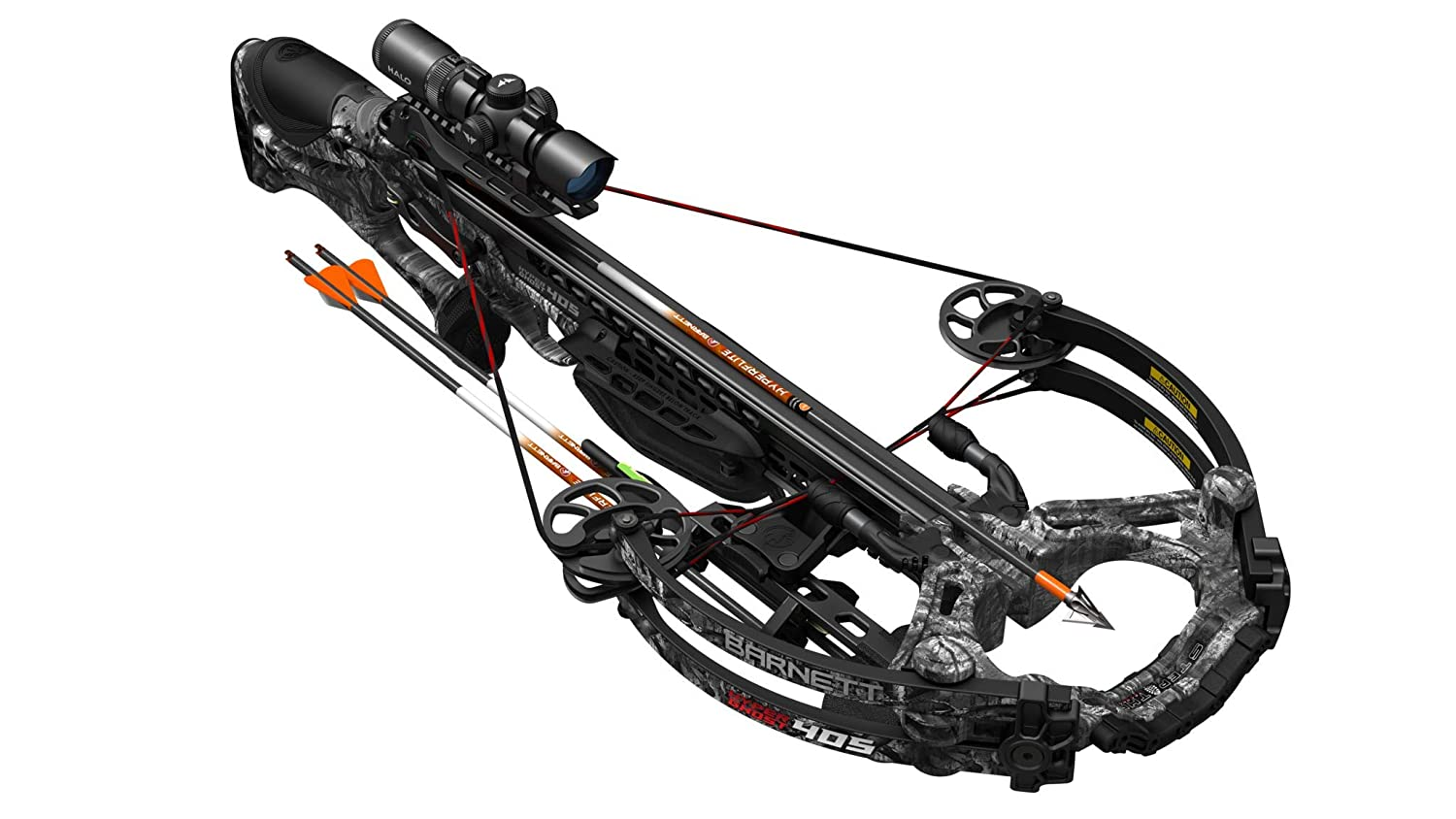 BARNETT HyperGhost 405 Crossbow in Mossy Oak Treestand Camo, Shoots 405 Feet Per Second and Includes Premium Illuminated 4X32 Scope