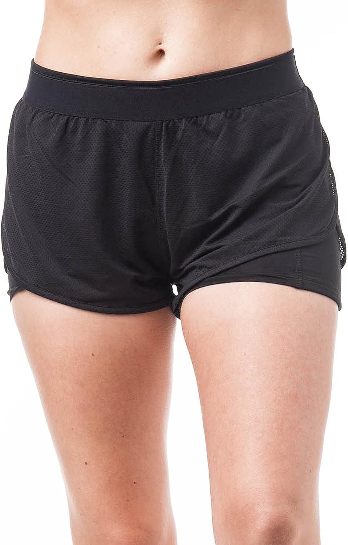 TALLA L. Khanomak Active Wear - Pantalones Cortos de Cintura elásticos con Doble Capa de Malla
