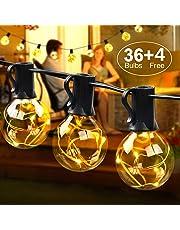 MYCARBON Catena Luminosa Led Esterno 3W Luminarie Natalizie 36 Bulbi Sostituibili senza Surriscaldamento Luci da Esterno Led Illuminazione per Natale Festa Cena inclusi 4 Lampadine di Ricambio DC 3V