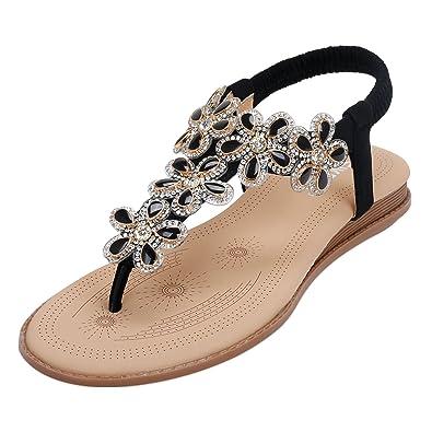 SANMIO Damen Sandals, Frauen Sandalen Sommer Bohemian Strass Flach Sandaletten PU Leder Zehentrenner Schwarz 37