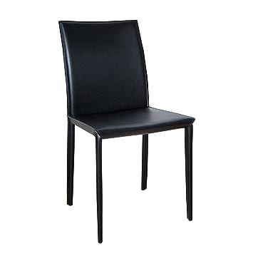 ECHT LEDER Stuhl MILANO schwarz Ziernaht Lederstuhl Lehnstuhl ...