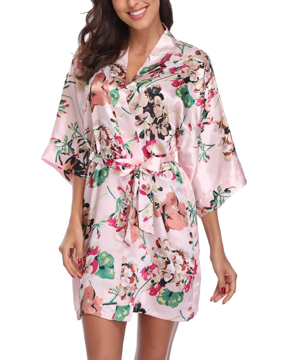 Laurel Snow Women's Satin Floral Kimono Robe Short Bridesmaid Bathrobe for Wedding Party,Pink L